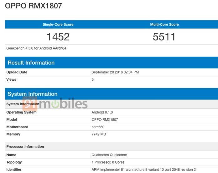 Realme 2 Pro aparece no Geekbench com 8GB de RAM e Snapdragon 660 1